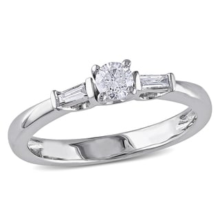 Miadora 10k White Gold 1/3ct TDW Round Baguette Diamond Ring (G-H, I2-I3)