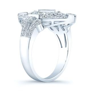 Estie G 14k White Gold 7/8ct TDW Diamond Vintage-inspired Ring