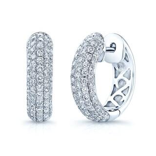 Estie G 14k White Gold 1ct TDW Diamond Hoop Earrings