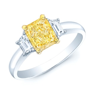Estie G 18k Yellow Gold 1 3/4ct TDW Fancy Yellow GIA-certified Diamond Ring