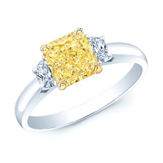 Estie G 18k Yellow Gold and Platinum 1 3/5ct TDW GIA-certified Fancy Yellow and White Diamond Ring (H-I, VS1-VS2)