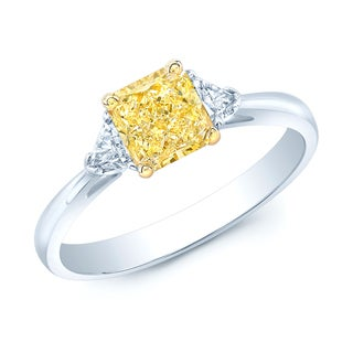 Estie G Platinum and 18k Yellow Gold 1ct TDW GIA-certified Radiant Fancy Yellow Diamond Ring