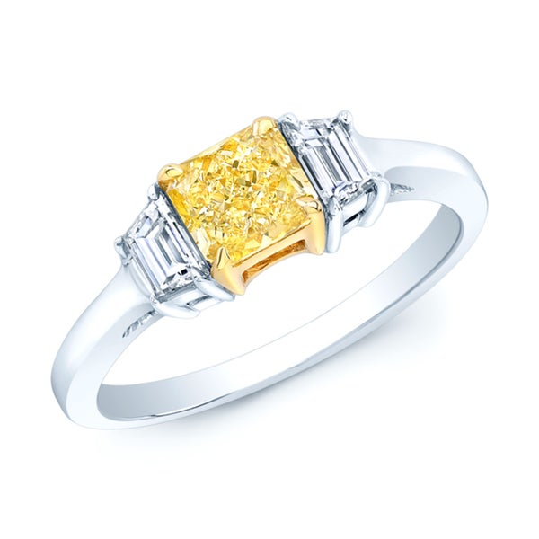 Estie G Platinum and 18k Yellow Gold 7/8ct TDW GIA-certified Fancy Yellow Radiant-cut Diamond Ring. Opens flyout.
