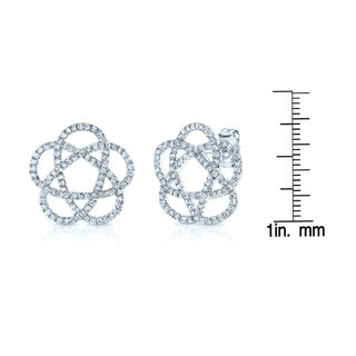 Estie G 14k White Gold 1ct TDW Diamond Swirl Stud Earrings (H-I, SI1-SI2)