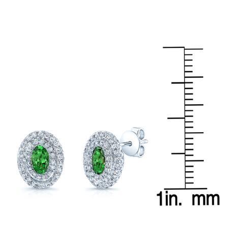 Estie G 14k White Gold Tsavorite 3/5ct TDW Diamond Earrings (H-I, VS1-VS2)