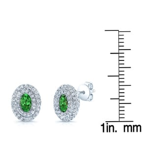 Estie G 14k White Gold Tsavorite 3/5ct TDW Diamond Earrings (H-I, VS1-VS2)