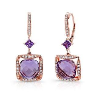 Estie G 14k Rose Gold Amethyst 1/4ct TDW Diamond Earrings (H-I, SI1-SI2)