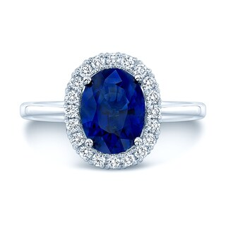 Estie G 14k White Gold Blue Sapphire and 1/5ct TDW Diamond Engagement Ring (H-I, VS1-VS2)