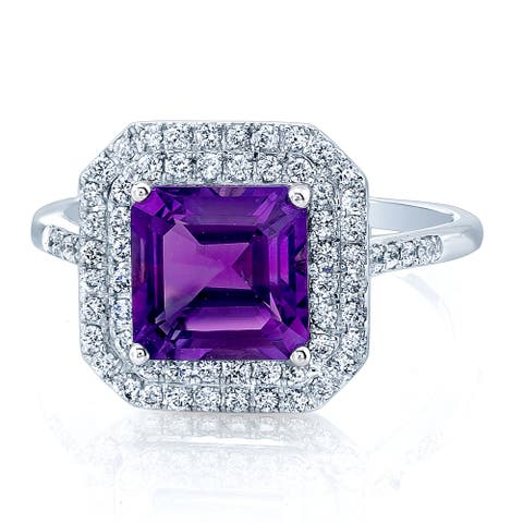 Estie G 14k White Gold 7mm Amethyst and 1/3ct TDW Diamond Ring (H-I, VS1-VS2)