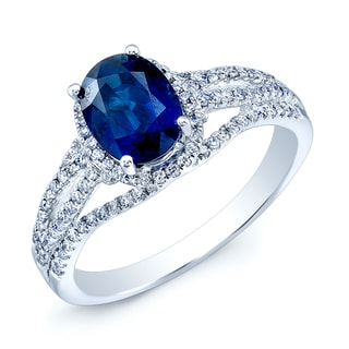 Estie G 14k White Gold Oval Blue Sapphire 1/3ct TDW Diamond Ring (H-I, SI1-SI2)