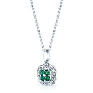 Estie G 14k White Gold Created Emerald 1/6ct TDW Diamond Pendant (G-H, SI1-SI2)