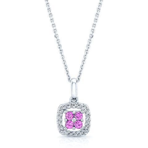Estie G 14k White Gold Pink Sapphire 1/8ct TDW Diamond Pendant (H-I, SI1-SI2)