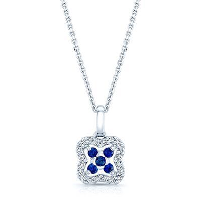 Estie G 14k White Gold Blue Sapphire 1/8ct TDW Diamond Pendant (H-I, SI1-SI2)