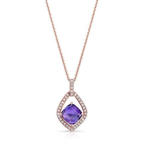 Estie G 14k Rose Gold Amethyst 1/6ct TDW Diamond Pendant (H-I, SI1-SI2)