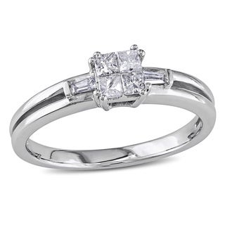 Miadora 10k White Gold 1/4ct TDW Princess Baguette Diamond Ring