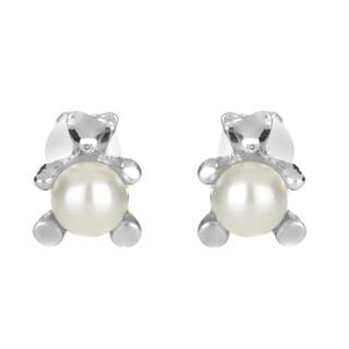 Pearl Teddy Bear Clip On Earrings