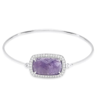 Dolce Giavonna Sterling Silver Rectangle Gemstone and Cubic Zirconia Bangle