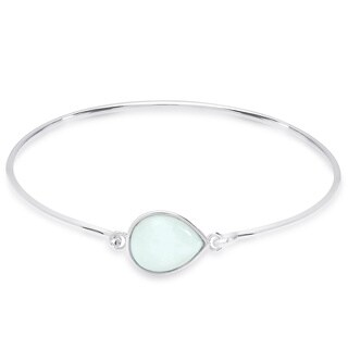 Dolce Giavonna Sterling Silver Teardrop Gemstone Bangle