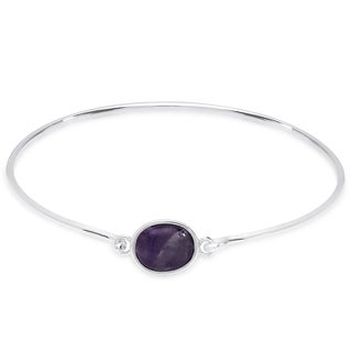 Dolce Giavonna Sterling Silver Round Gemstone Bangle