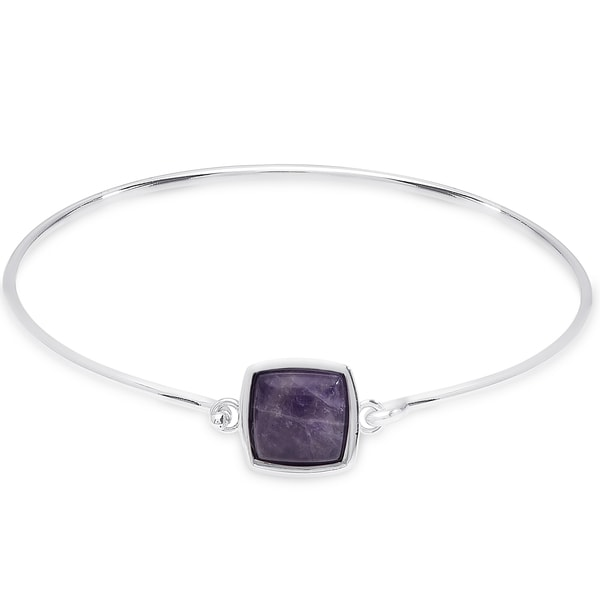 Dolce Giavonna Sterling Silver Square Gemstone Bangle
