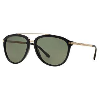 Versace Men's VE4299 Plastic Pilot Polarized Sunglasses