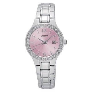 Seiko Women's SUR787 Stainless Steel embossed Pink Dial Silver Tone Crystal Embellished Watch