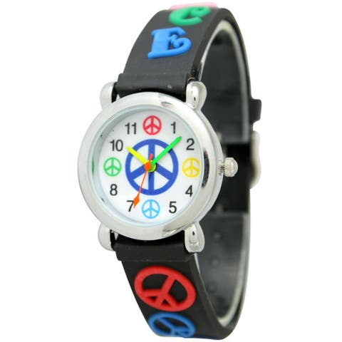 Olivia Pratt Kids' Peace Sign Watch - Black