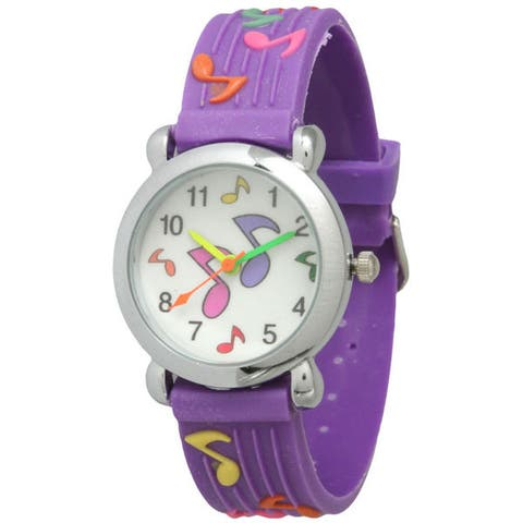 Olivia Pratt Kids' Music Note Watch with Silver Bezel