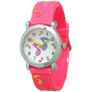 Olivia Pratt Kids' Music Note Watch with Silver Bezel