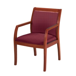 Upholstered Guest Chair Medium Cherry Wood Frame Upholstered Back
