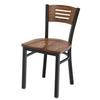 Metal Cafe Chair Wood Seat and Back