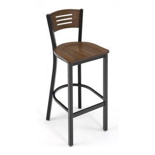 KFI Seating Metal Bar Stool Mahogany Wood Seat and Back