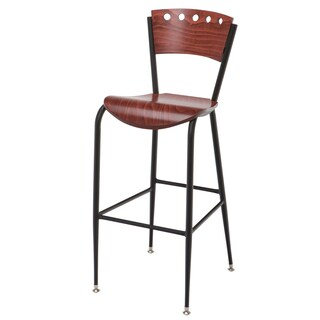 Metal Bar Stool Wood Waterfall Seat and Back