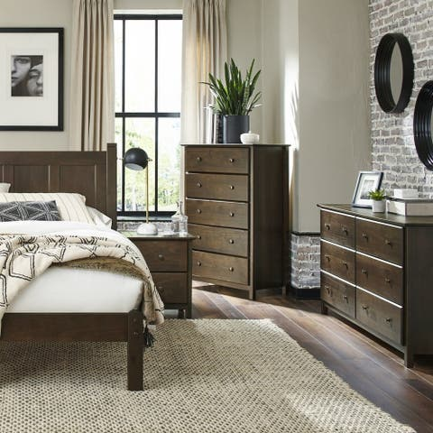 Grain Wood Furniture Shaker Queen Slat Platform Bed solid wood