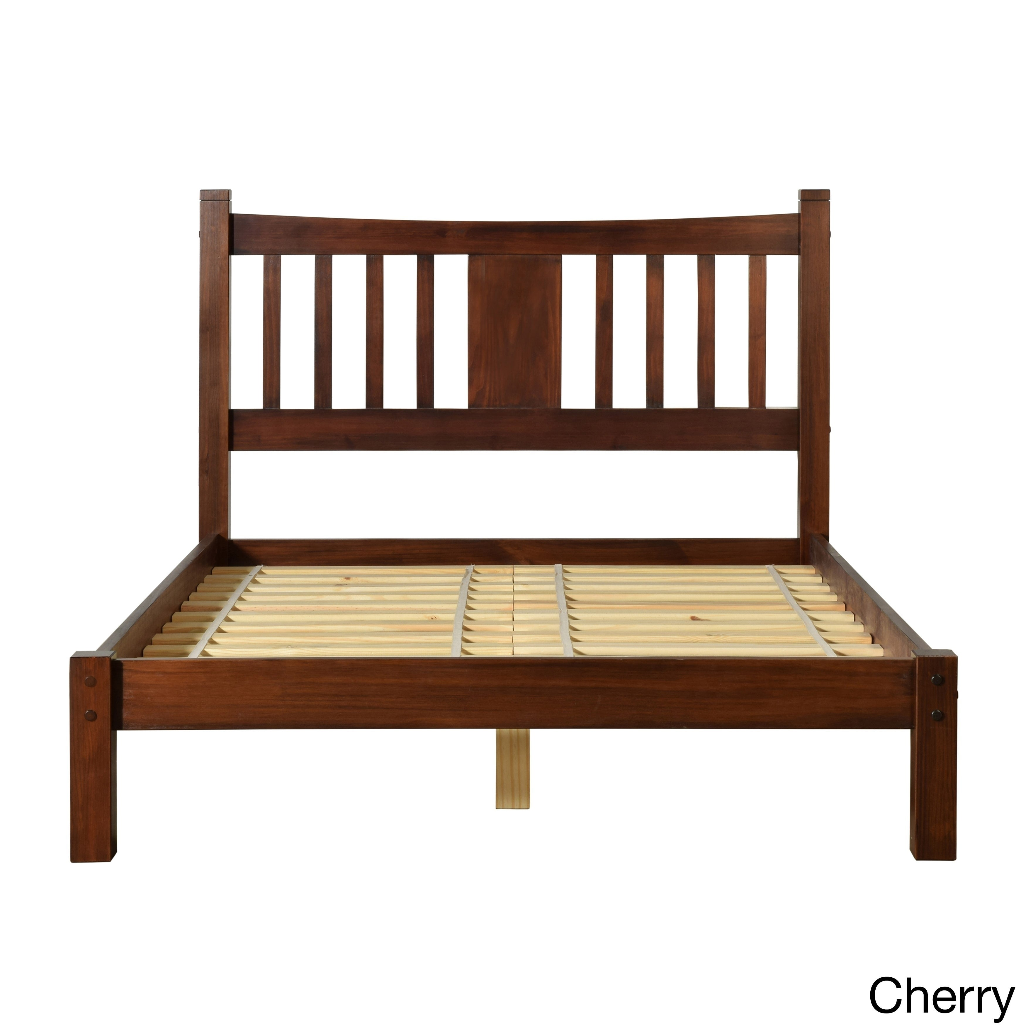 Grain Wood Furniture Shaker Queen Slat Platform Bed solid...