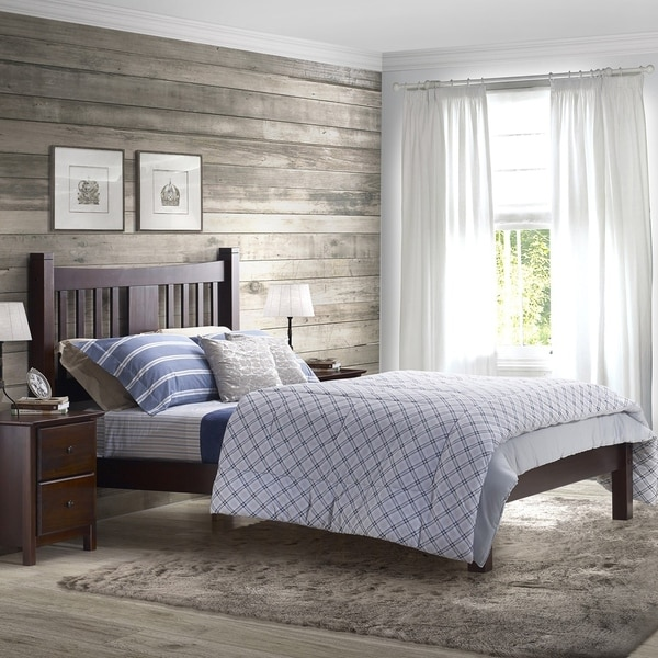 Solid Wood Furniture grain wood furniture shaker solid wood queen platform bed - free