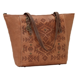 American West Mystic Shadow Zip Top Tan Bucket Tote Bag