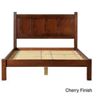 Grain Wood Furniture Shaker Panel Queen Solid Wood Platform Bed (Option: Cherry)