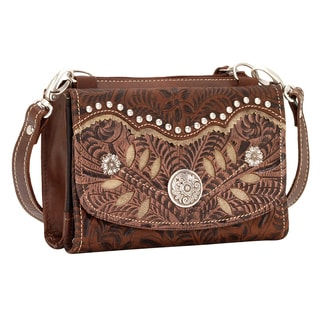 American West Brown Woodland Bloom Flapover Crossbody Wallet