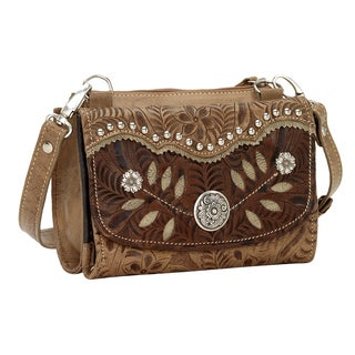 American West Woodland Bloom Flapover Crossbody Wallet