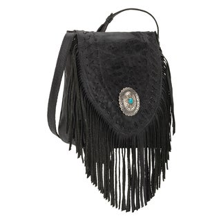 American West Seminole Black Fringe Crossbody Bag
