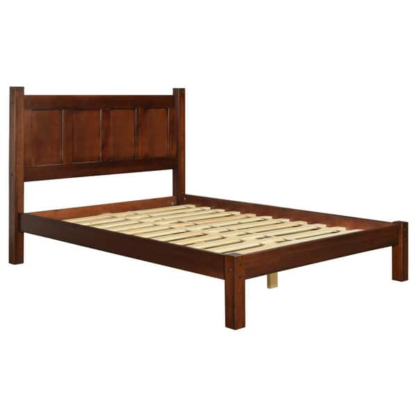 Full Queen King Bed Frame Solid Wood Farmhouse Platform Minimalist Cherry Finish