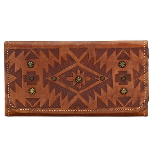 American West Brown Mystic Shadow Collection Tri-fold Wallet