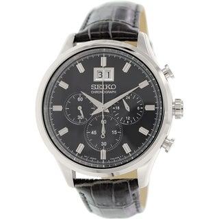 Seiko Men's SPC083P2 Black Leather Quartz Watch