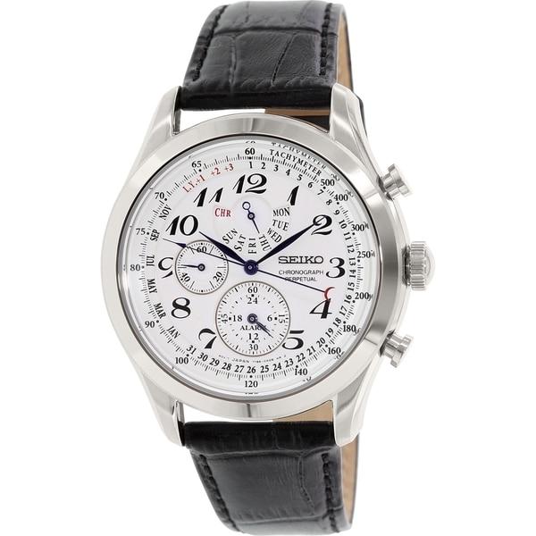 Seiko Men's Silver Leather Quartz Watch