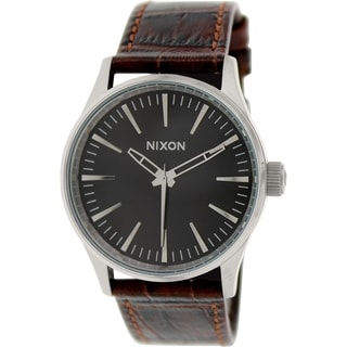 Nixon Men's Sentry A3771887 Brown Leather Quartz Watch
