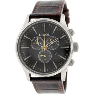 Nixon Men's Sentry A4051887 Brown Leather Quartz Watch