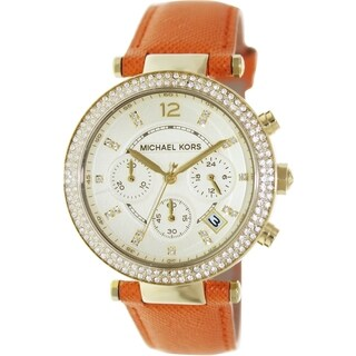 Michael Kors Women's Parker Orange Leather Quartz Watch