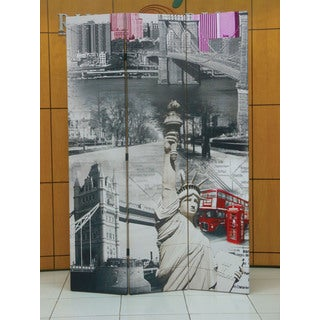 Truly 3-panel Wooden New York Scene Screen