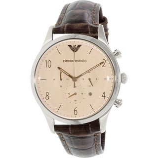 Emporio Armani Men's Beta Brown Leather Quartz Watch